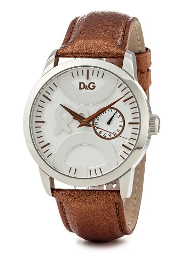 D & G Twin Tip Ladies Quartz Watch DW0700 With Silver Multi Function Dial, Stainless Steel Case And Metallic Gold Colour Leather Strap