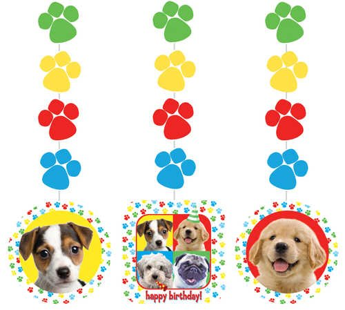 Creative Converting Paw-Ty Time Hanging Decorations with Stickers, 3-Piece