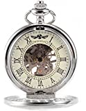 AMPM24 Silver White Skeleton Mens Carved Mechanical Classic Pocket Watch Chain Gift WPK081