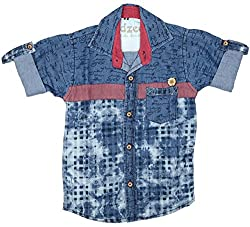 CAY 100% Cotton blue denim checks printed full sleeve shirt (Size:S)
