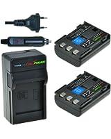 ChiliPower Canon NB-2LH, NB-2L, BP-2L5, BP-2LH Kit: 2x Batterie (900mAh) + Chargeur pour Canon EOS 350D, 400D, Digital Rebel XT, XTi, PowerShot G7, G9 , S30, S40, S45, S50, S60, S70, S80, DC410, DC420, VIXIA HF R10, HF R100, HF R11, Kiss Digital N, Canon Optura 30, 50, 60, 40, 400, 500, Canon Elura 60, 50, 65, 70, 80, 85, 90, 40mc, Canon ZR-200