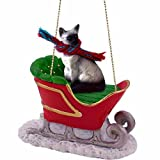 Siamese Cat in Sleigh Christmas Ornament New Gift