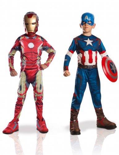 Marvel 155014m - Costumi per bambini, Set da 2 pz.:, Capitan America + Iron Man 2, M