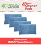 Crucial Vacuum Washable Micro-Fiber Blue Steam Mop Pads 4-pack fits HAAN® SI-25, SI-40, SI-60, SI-70, SI-35 Steam Mop, SV-60, or MS-30 Steam Cleaner Floor Sanitizer Models, Replaces HAAN® Part RMF2, RMF2P, RMF2X, RMF4X, RMF4, RMF-4, Designed & Engineered by Crucial Vacuum
