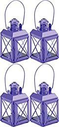 4 Purple Railway Style Tealight Candle Lantern Lamps With Handles & Hinged Doors