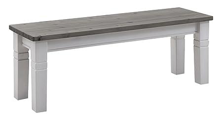 Jumek 133 wss/gra Bank, Holz, weiß-grau, 130 x 40 x 46 cm