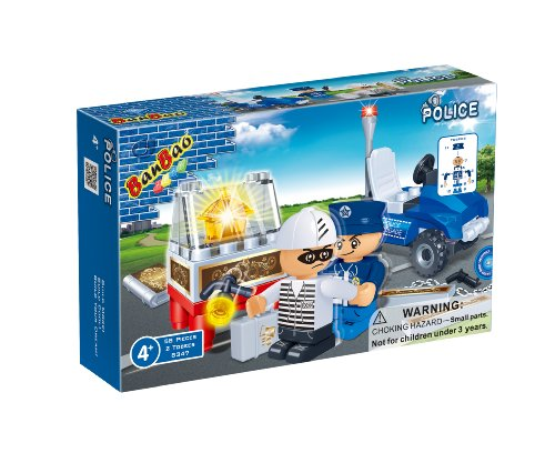 BanBao Policeman and Thief Toy Building Set, 58-Piece