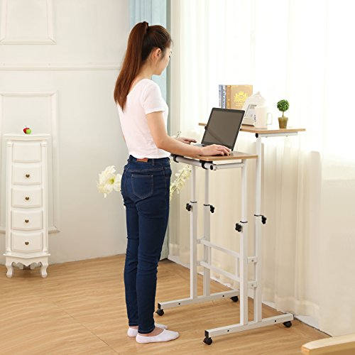 Sdadi Adjustable Height Mobile Stand Up Desk Computer Workstation With Standing&Seating 2 Modes (Dark Grain) (Adjustable Standing Desk compare prices)