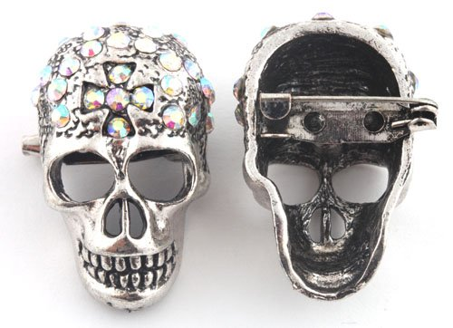 Ladies Silver with Clear AB Iced Out Crossed Skull Brooch & Pin Pendant