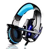 ECOOPRO Stereo Gaming Headset with Microphone - 3.5mm Over Ear Headphones - LED Lights & In-line Volume Control for PS4, PC, MAC, Mobiles Blue