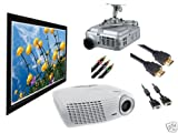 """HD20 Optoma Home Theater Projector Bundle 133"""" fixed frame and more"""