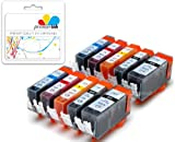 Premier Ink 10 Canon Compatible Cli526, Pgi525, Printing Ink Cartridges - New With Chip Installed No Fuss - Multipack Set Of 10 Canon Compatible Printer Ink Cartridges For Canon Pixma Ip4950, Ip4850,Mg5150, Mg5250, Mg5350, Mg6150, Mg6220, Mg6250, Mg8150,