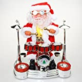 Santa Claus Playing Drum With Light And Sound Christmas Decoration Party Gift Home Decor Showpiece