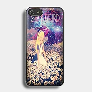 alice in wonderland stay weird galaxy for iPhone case (iPhone 6S black)