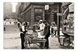 NYC Mulberry Street Vendor Photo Black & White Wall Art Print, 5 Stars Gift Startonight 31.5 X 47.2 In