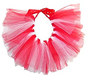 PAWPATU Team Spirit Tulle Tutu for Dogs or Cats, X-Small, Red White