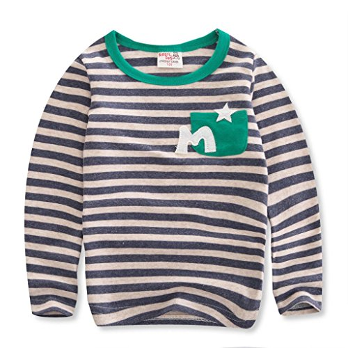 Smartdog Little Boys' Crewneck Long Sleeve T-Shirt With 1 Pocket (Gray,Us S 100Cm)