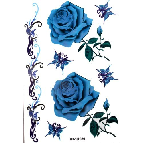 Amazon.com: KingHorse Temporary Tattoo for Women (Bright Blue Roses