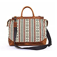 Kattee Ethnic Style Ladies Embroidered Canvas Leather Tote Shoulder Bag