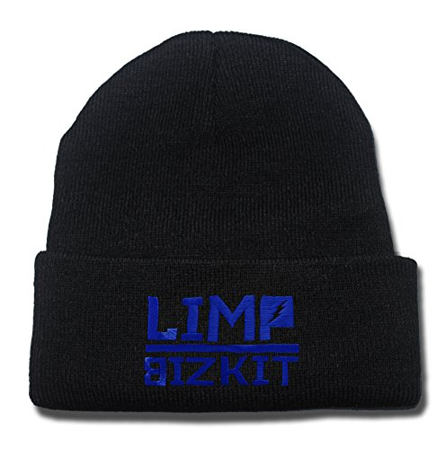 JRICK Limp Bizkit Band Logo Beanie Fashion Unisex Embroidery Beanies Skullies Knitted Hats Skull Caps - Black/Blue (Limp Bizkit Merchandise compare prices)