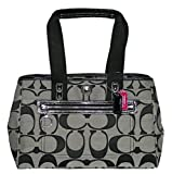 Coach Hamptons Signature Carryall Bag Purse Tote Black White 14878