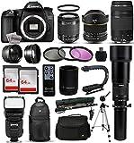 Canon EOS 70D DSLR SLR Digital Camera + 18-55mm STM + 6.5mm Fisheye + 55-250 IS STM + 650-2600mm Lens + Filters + 128GB Memory + i-TTL Autofocus Flash + Backpack + Case + 70