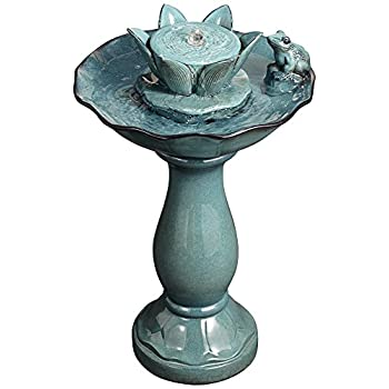 "Pleasant Pond Frog-Lotus 25 1/4"" Outdoor Pedestal Fountain"