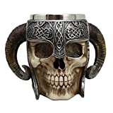 Atlantic Collectibles Viking Ram Horned Pit Lord Warrior Skull With Battle Helmet Beer Stein Tankard Coffee Cup Mug (Color: Multi Colored)