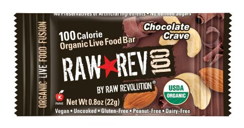 Raw Rev 100, Chocolate & Cashew 100 Calorie Organic Live Food Bar, 0.8-Ounce Bars (Pack of 26)