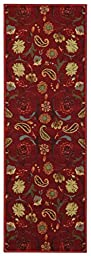 Anti-Bacterial Rubber Back RUGS RUNNERS Non-Skid/Slip 2x7 Runner Rug | Red Floral Garden Indoor/Outdoor Thin Low Profile Modern Home Floor Bathroom Kitchen Hallways Colorful Decorative Rug