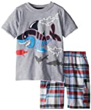 Kids Headquarters Little Boys Crew Neck Tee with Plaid Cargo Shorts Shark