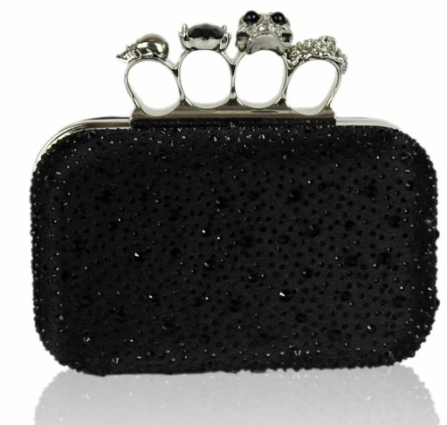 Womens Black Skull Knuckle Rings Diamantes Clutch Evening Bag (All Black) - KCMODE