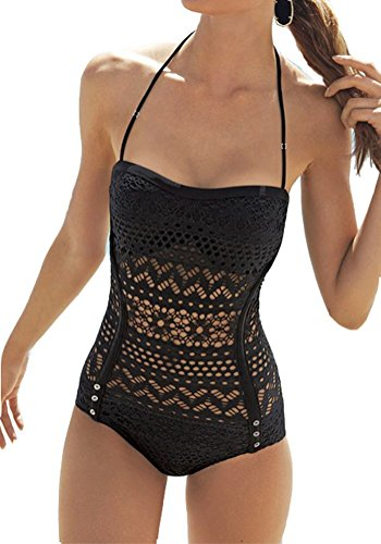 Minetom Elegante Costume Intero Pizzo Vuoto Sexy Swimsuit One Piece Swimwear ( Nero EU L )
