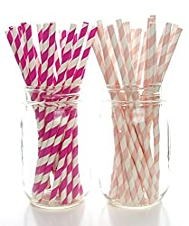 Breast Cancer Awareness Straws, Pink Survivor Paper Straws (50 Pack) - October Find A Cure Party Supplies, Women & Girls Pink Stripe Straws