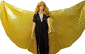 Egyptian Professional isis wings Large Belly Dance costume lame SILVER & GOLD COLOR