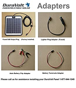 "Solar Charger - 16.6 Watt Boat, RV, Marine & Trolling Motor Solar Panel - Semi Flexible - Self Regulating - 12 Volt - No experience Plug & Play Design. Dimensions 14.1"" L x 15.7"" W x 1/4"" Thick. 10' cable. by DuraVolt"