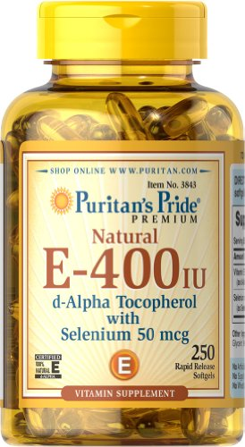 Puritan'S Pride Vitamin E-With Selenium 400 Iu/50 Mcg Natural-250 Softgels