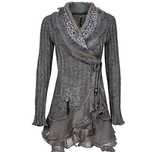 Damen Strick Woll Patchwork Jacke Strickjacke Wolljacke Patchworkjacke Mantel S M L XL, Farbe:Grau;Größe:40/42