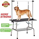 Professional Dog Pet Grooming Table Large Adjustable Heavy Duty Portable w/Arm & Noose & Mesh Tray, Maximum Capacity Up to 250LB (Color: Black, Tamaño: 36
