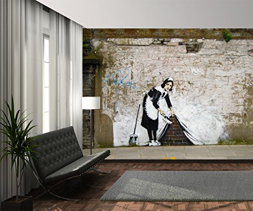 1wall w4p streetart 004 banksys maid wall mural fototapete. Black Bedroom Furniture Sets. Home Design Ideas