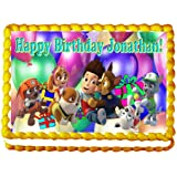 "Paw Patrol ""Birthday Party"" 1/4 Sheet Edible Photo Birthday Cake Topper. ~ Personalized!"