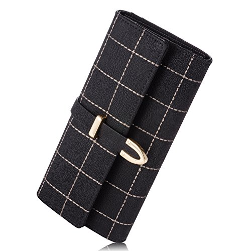 newland-womens-long-grid-buckle-leather-handbag-card-holder-purse-wallet-black