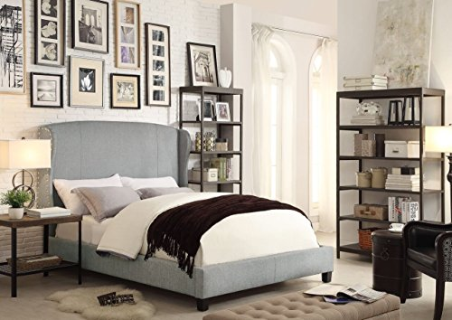 Cheapest Prices! Millbury Home chavelle linen wings queen upholstered platform bed, gray