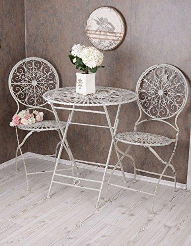 Vintage Gartenmöbel Schmiedeeisen SET 1 Tisch 2 Stühle Antik Stil jetzt kaufen