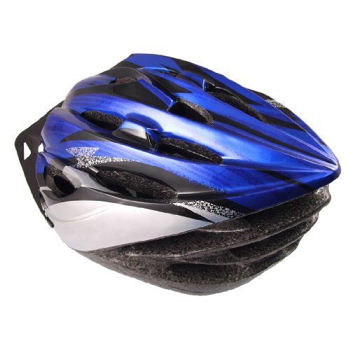 Como Adult Adjustable Strap Foam Plastic 22 Vents Bicycle Helmet Blue Gray