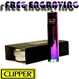CLIPPER METAL LIGHTER WITH FREE ENGRAVING PERSONALISED GIFT- ICY MULTICOLOURED
