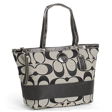 coach signature stripe shopper book bag tote 15112 black white handbags