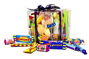 80's Retro Sweets Gift Cube - Perfect Gift for Any Occasion! Full of Retro Candy Over 25 Varieties.Childhood sweets in an attractive box