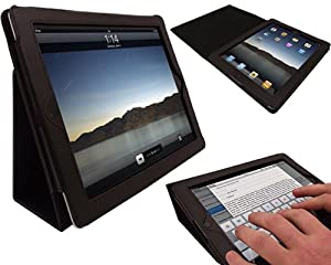 TG Cases® New Apple iPad 4, iPad 3 & iPad 2 Premium Folio Black PU Leather Case / Cover / Wallet and Flip Stand With Built-in Magnet For Sleep / Wake Feature + 2 Included Screen Protectors for New Apple iPad 4th Generation (With Retina Display), iPad 3 & iPad 2 - Black.