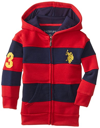 U.S. Polo Assn. Little Boys' Cut and Sew Fleece Zip-Up Hoodie, Red/Navy, 4T (Cut And Sew compare prices)